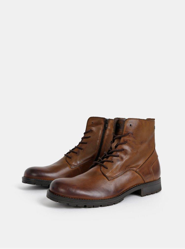 Hnědé pánské kožené boty Jack & Jones Worca