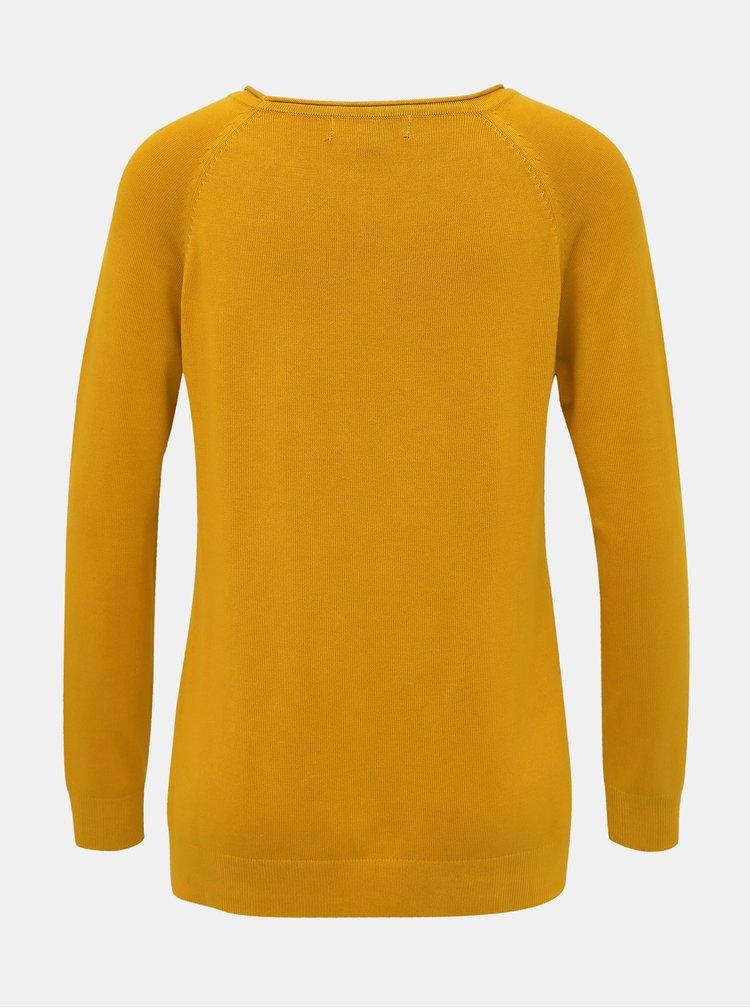 Hořčicový dámský basic svetr ZOOT