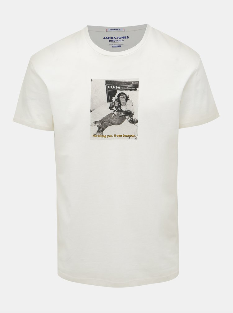 Biele tričko s potlačou Jack & Jones Gilbert