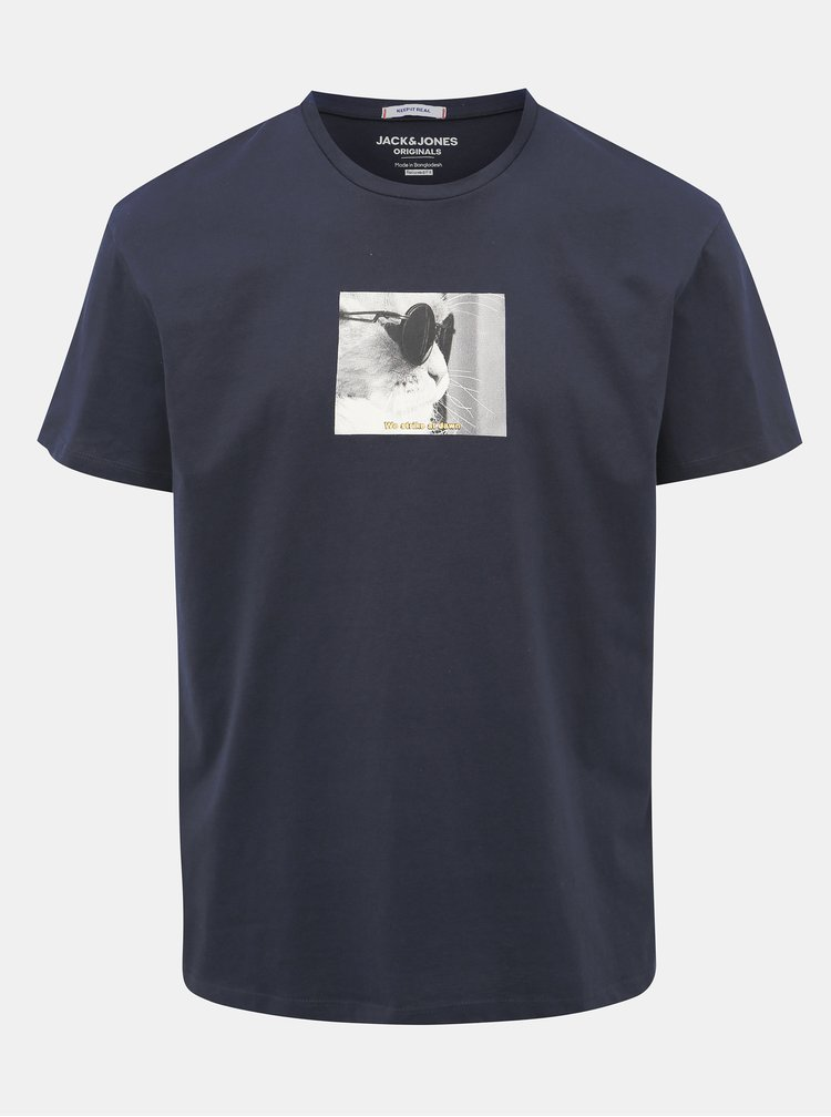 Tmavě modré tričko s potiskem Jack & Jones Gilbert