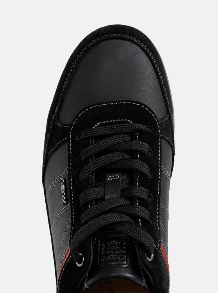Čierne pánske tenisky so semišovými detailmi Geox Renan