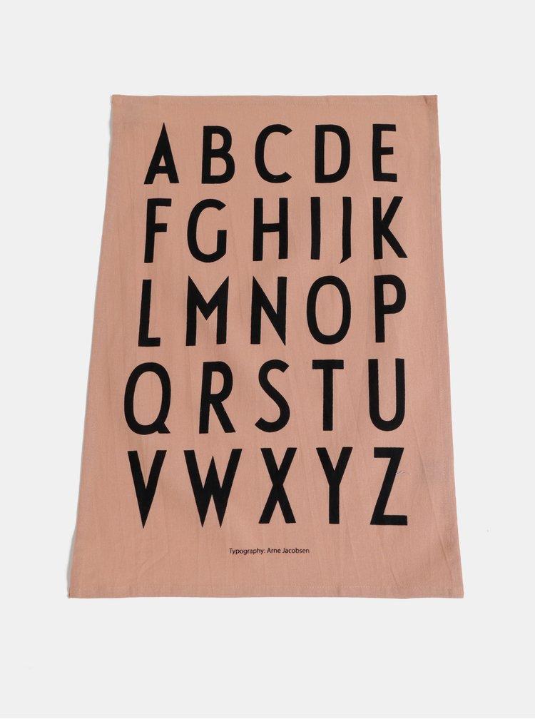Sada dvou růžových utěrek Design Letters