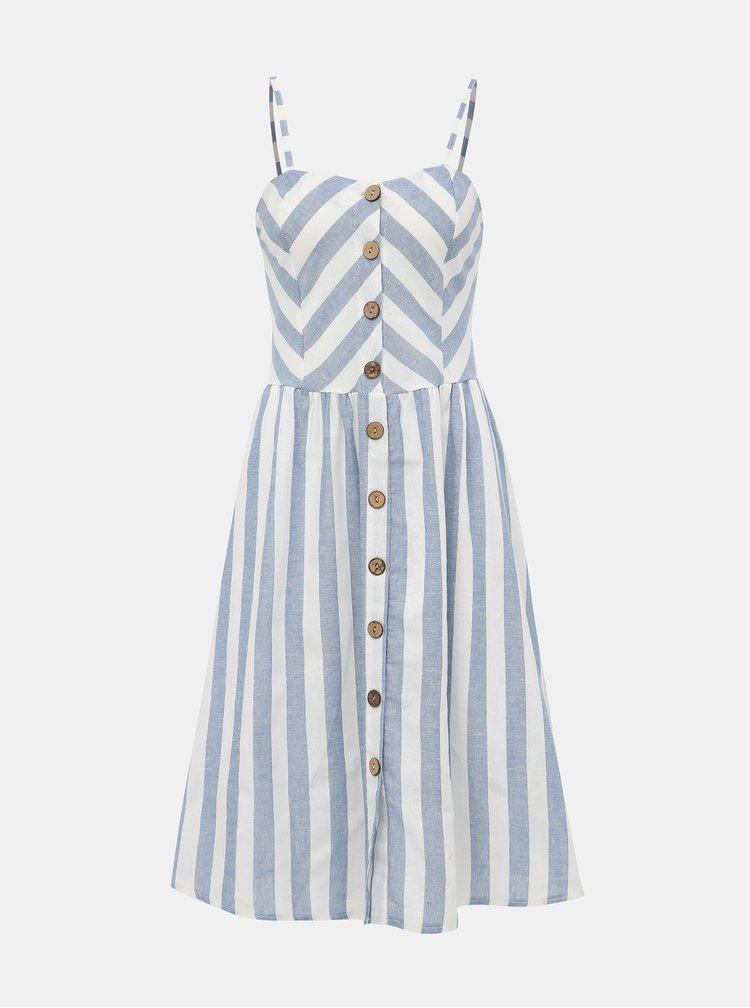 Bielo-modré pruhované šaty s prímesou ľanu Haily´s Amy