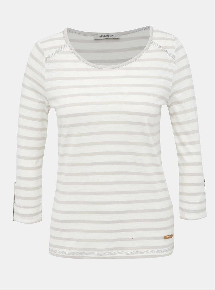 Bílo-šedé dámské pruhované basic tričko Haily´s Femke