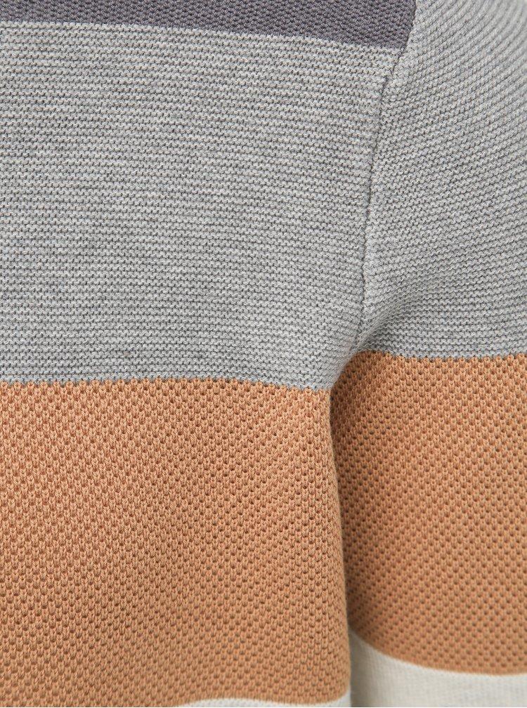 Hnedo-šedý pánsky pruhovaný sveter Haily´s Finn
