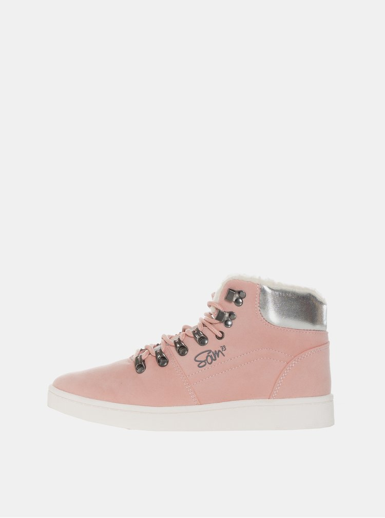 Rúžové dámske zimné členkové topánky SAM 73