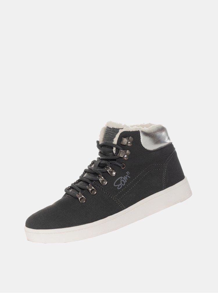 Čierne dámske zimné členkové topánky SAM 73