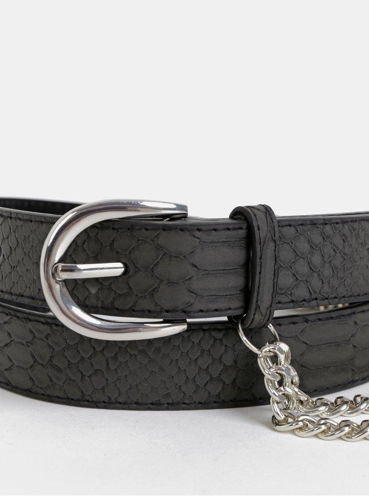 Černý kožený pásek s hadím vzorem Haily´s Charleen