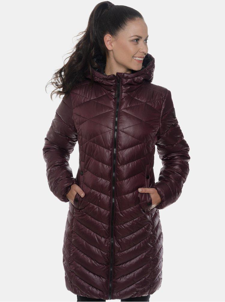 Vínový dámsky prešívaný zimný kabát SAM 73
