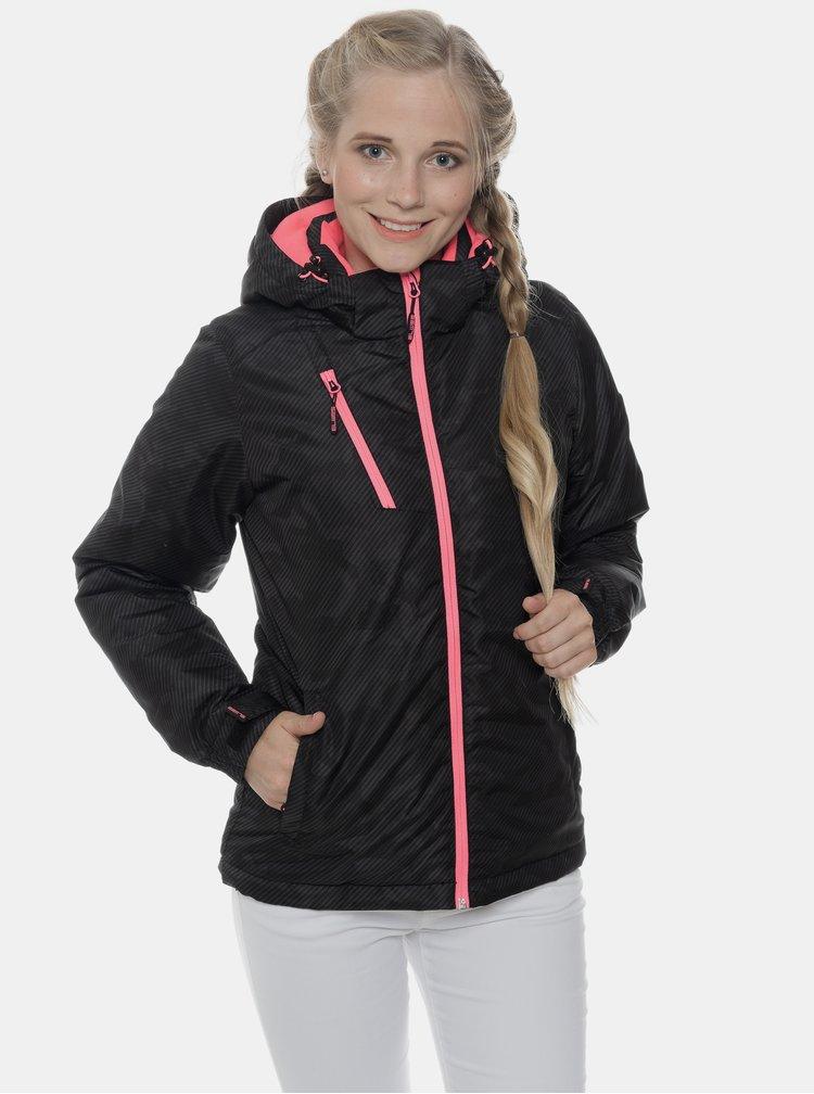 Čierna dámska vzorovaná nepromokavá zimná bunda SAM 73