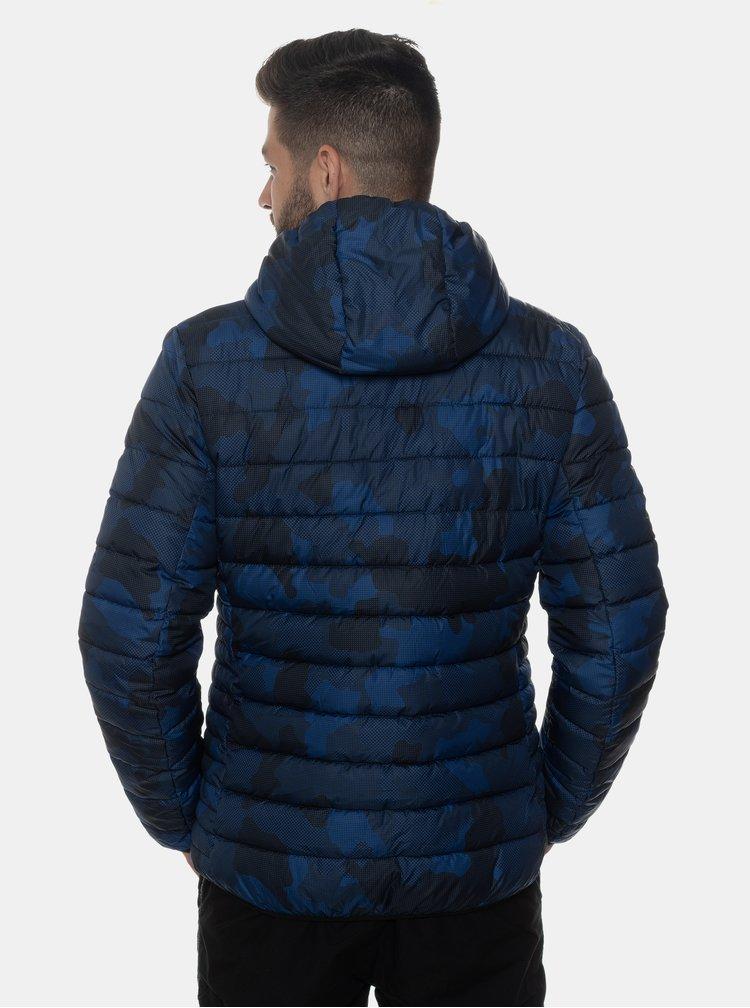 Tmavomodrá pánska vzorovaná zimná bunda SAM 73