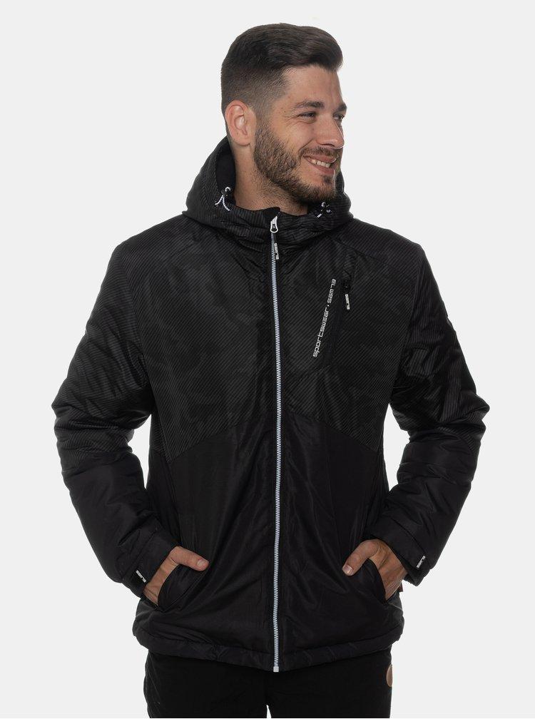 Čierna pánska vzorovaná vodeodolná zimná bunda SAM 73
