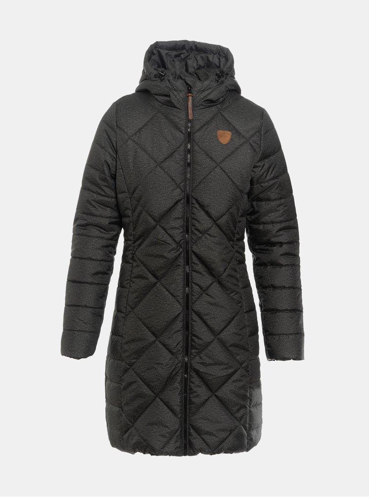 Tmavozelený dámsky vodeodolný prešívaný zimný kabát SAM 73