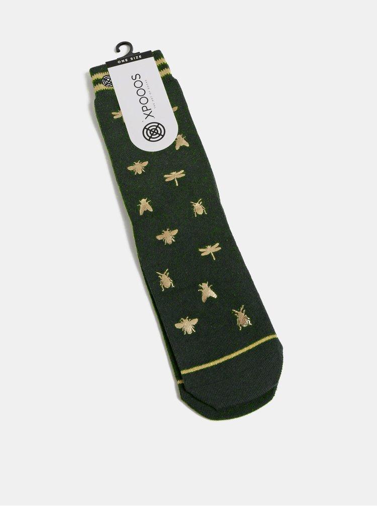 Zelené dámské vzorované ponožky XPOOOS