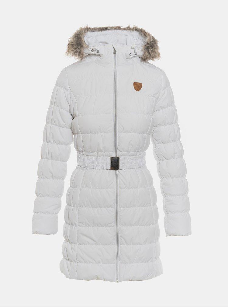 Biely dámsky prešívaný vodeodolný zimný kabát s umelým kožúškom SAM 73