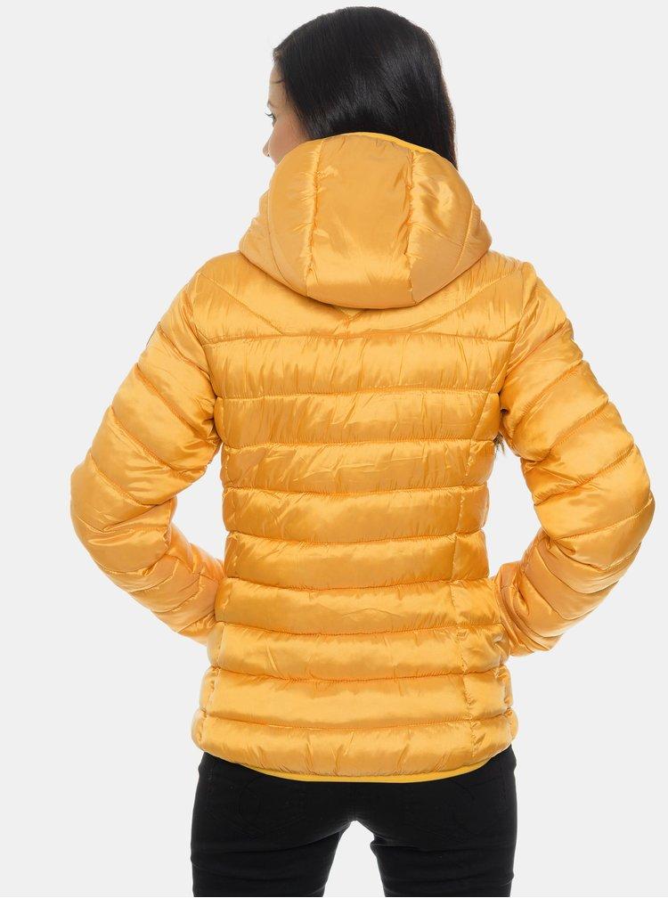 Horčicová dámska prešívaná zimná bunda SAM 73