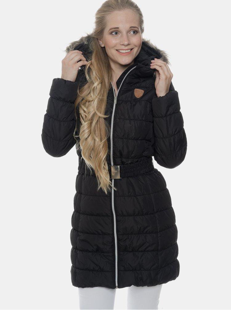 Čierny dámsky prešívaný vodeodolný zimný kabát SAM 73
