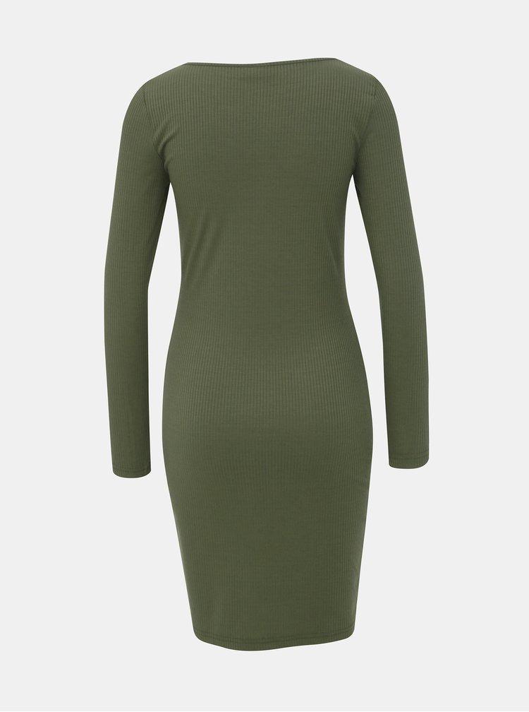 Kaki rebrované šaty Noisy May Mox