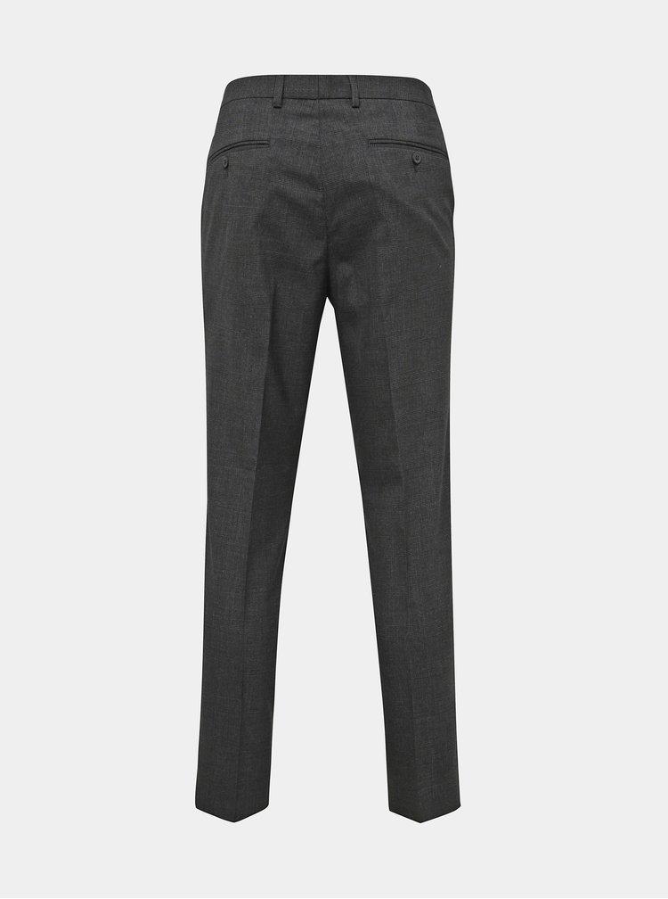Šedé kockované slim fit oblekové nohavice Burton Menswear London