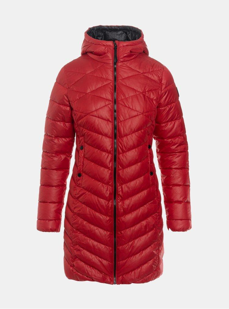Červený dámský prošívaný zimní kabát SAM 73