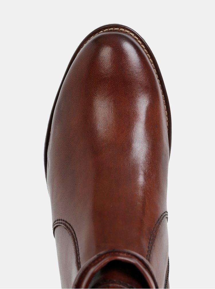 Tmavě hnědé kožené kotníkové boty Tamaris