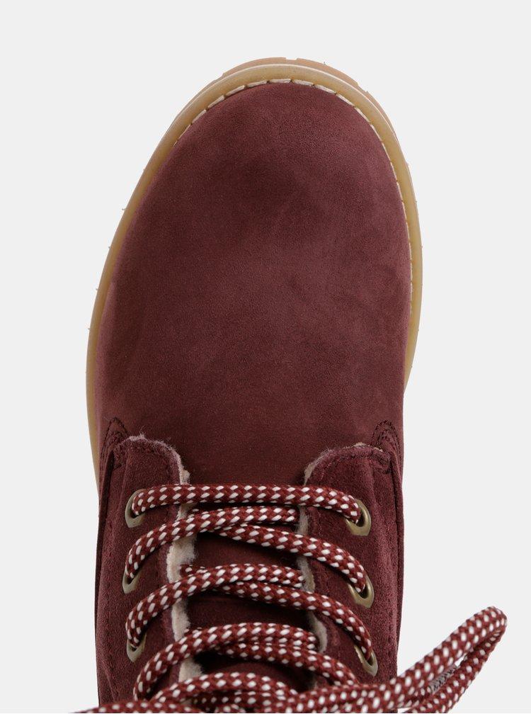 Vínové semišové vodeodolné kotníkové boty Tamaris