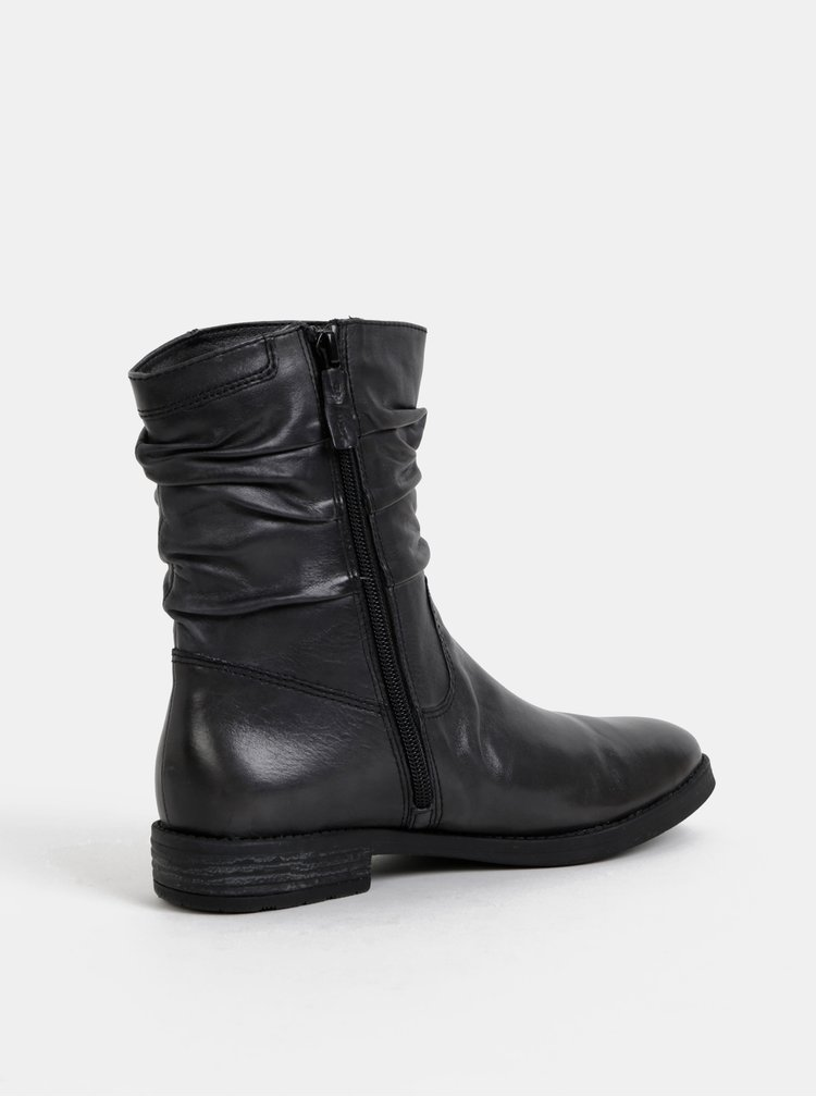 Tmavě šedé kožené kotníkové boty Tamaris