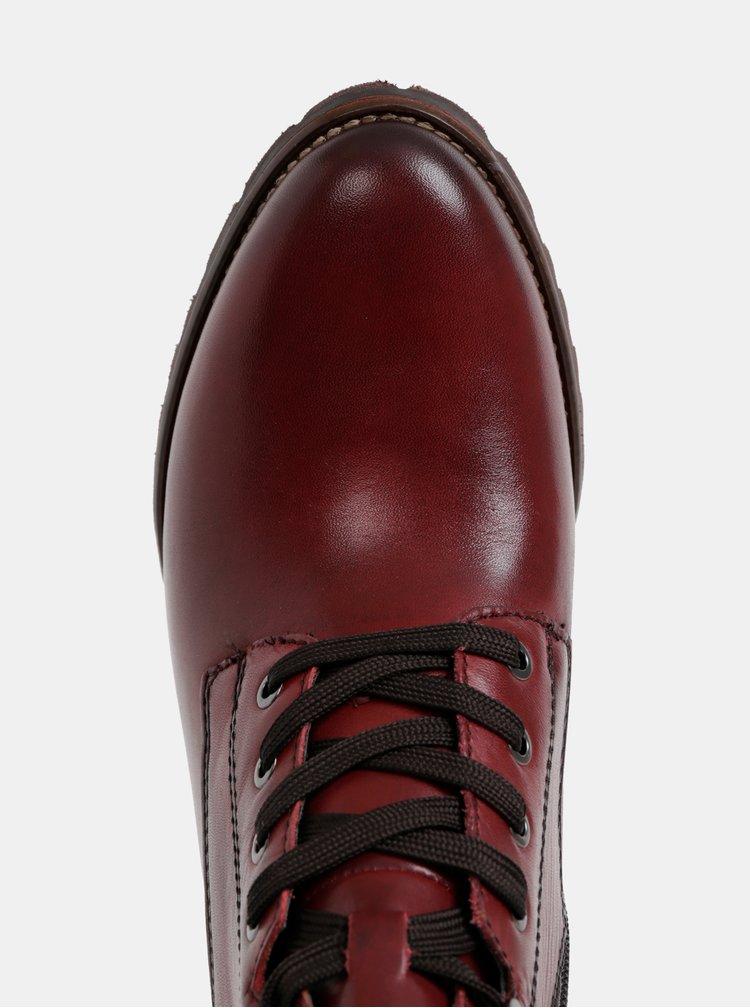 Vínové kožené kotníkové topánky Tamaris