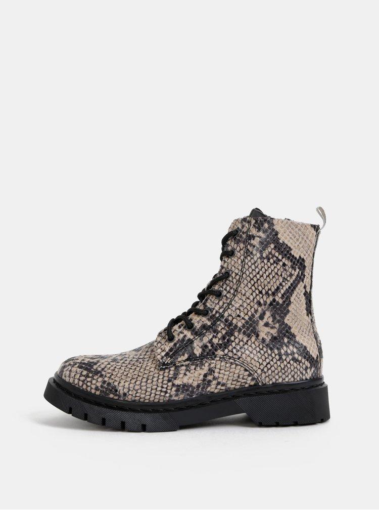 Béžové kotníkové topánky s hadím vzorom Tamaris