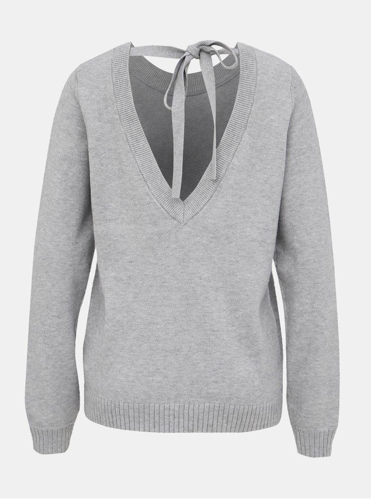 Svetlošedý sveter s výstrihom na chrbte VILA Ril