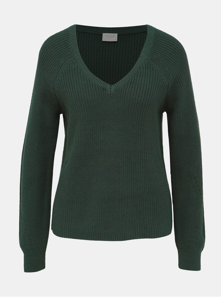 Tmavozelený sveter VILA Myntani