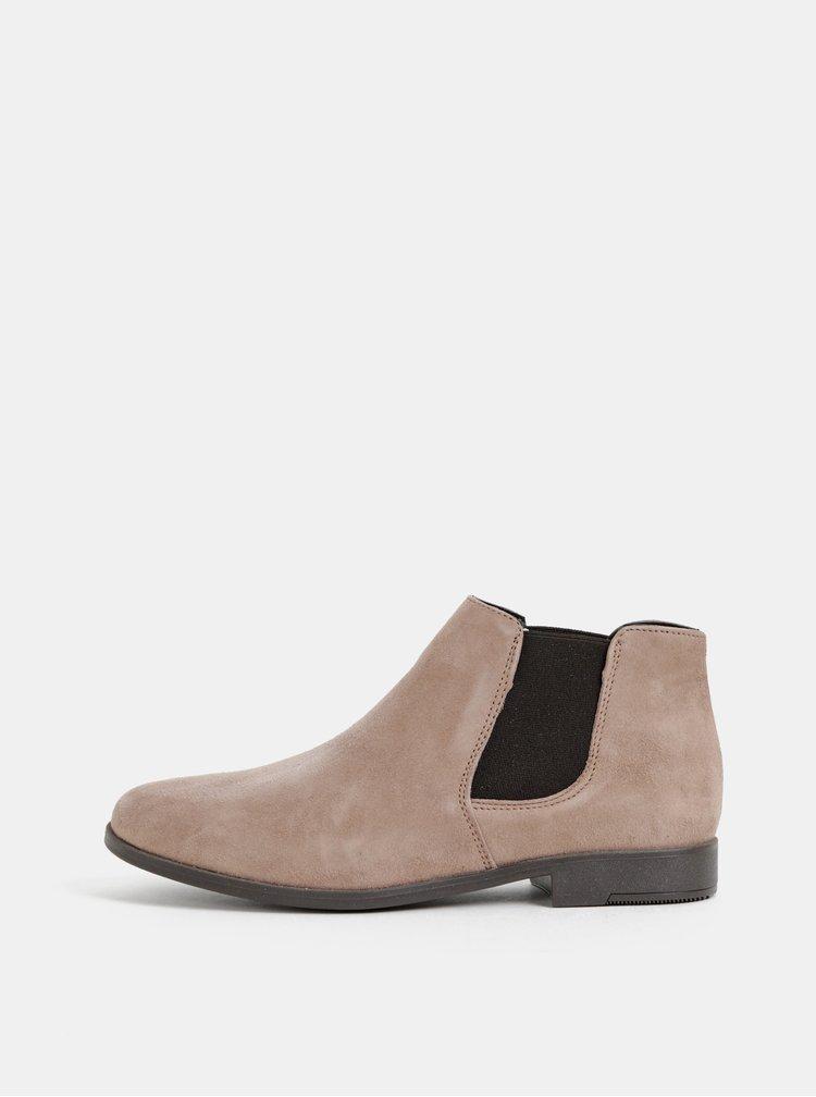 Béžové semišové chelsea boty Tamaris