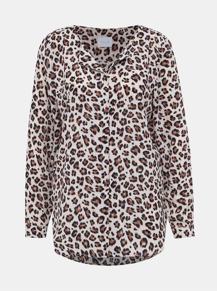 Béžová blúzka s leopardím vzorom VILA Lucy
