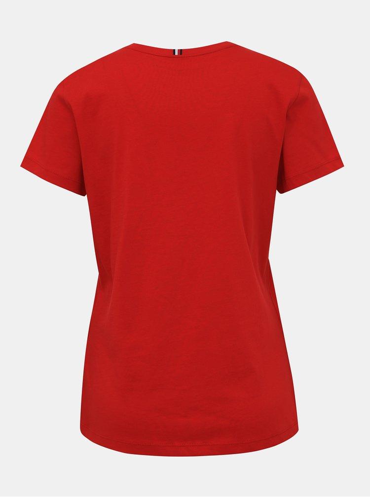 Červené dámske basic tričko Tommy Hilfiger New Crew
