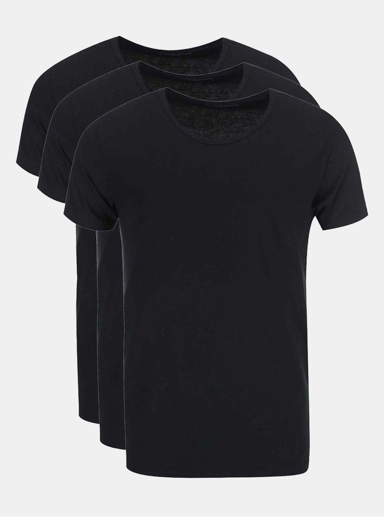 Sada tří černých pánských trik pod košili Tommy Hilfiger