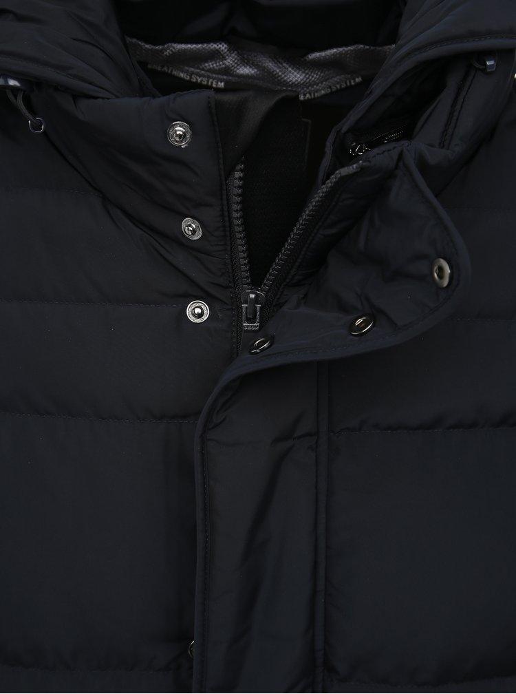 Tmavomodrá pánska vodeodolná prešívaná zimná bunda Geox Hilstone