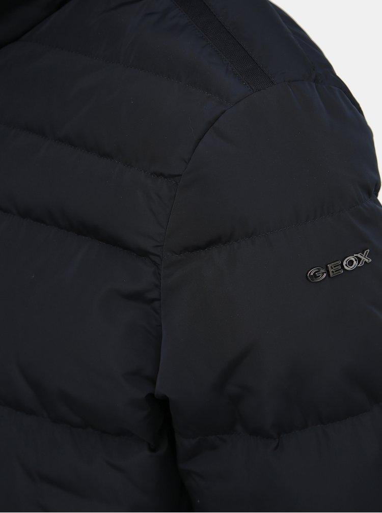 Tmavě modrá pánská voděodolná prošívaná zimní bunda Geox Hilstone