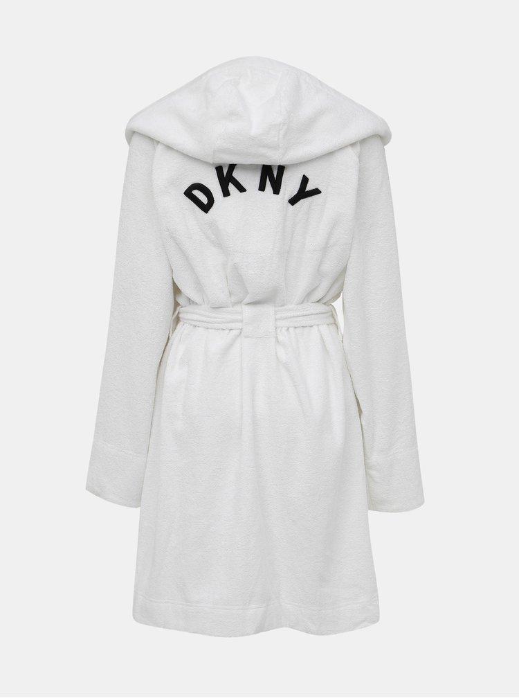 Biely župan s logom na chrbte DKNY
