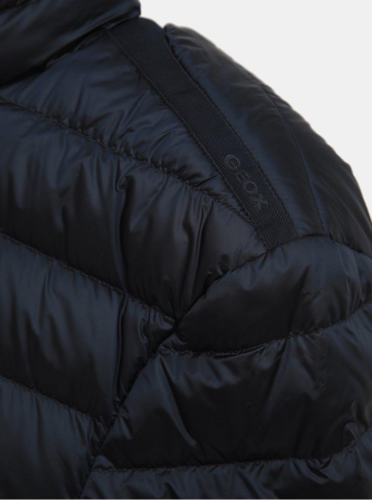 Tmavomodrá pánska lesklá prešívaná vodeodolná bunda Geox Dereck