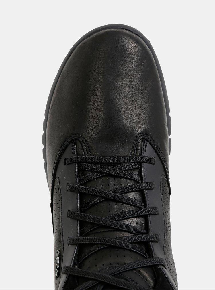 Černé pánské kožené kotníkové tenisky se semišovými detaily Geox Aerantis