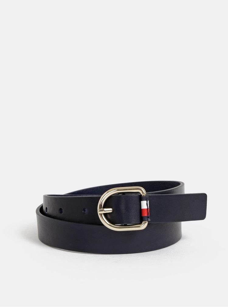 Tmavě modrý dámský kožený pásek Tommy Hilfiger Corporate
