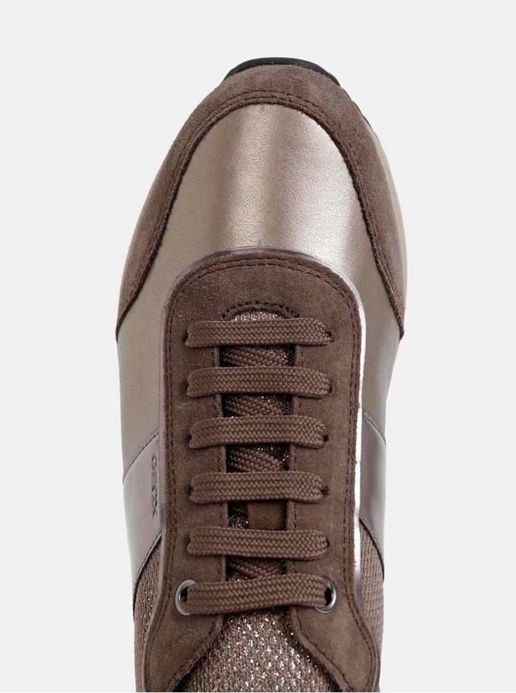 Hnedé dámske kožené tenisky so semišovými detailmi Geox Airella