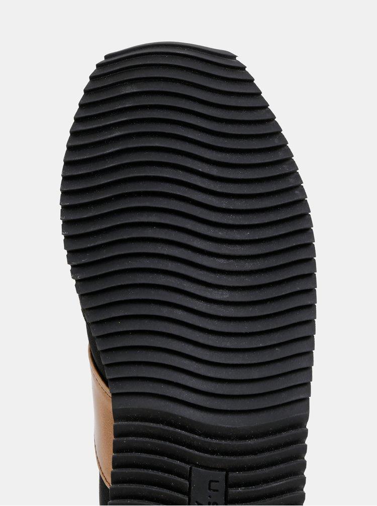 Čierne dámske tenisky s detailmi v semišovej úprave U.S. Polo Assn.