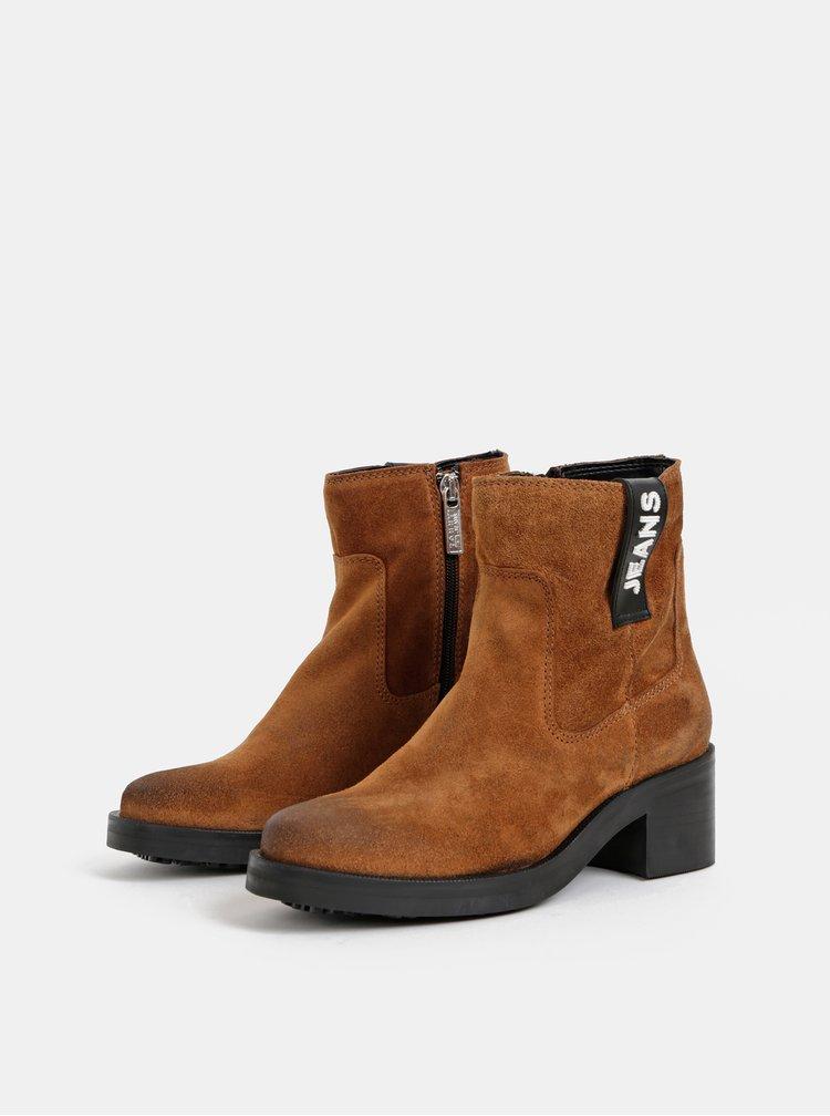 Hnědé dámské semišové kotníkové boty Tommy Hilfiger PIn Logo