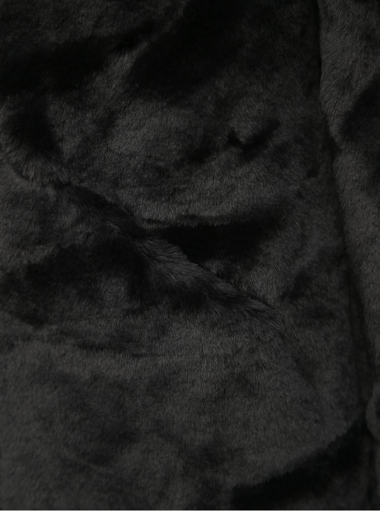 Čierny kabát z umelej kožušiny ONLY Vida