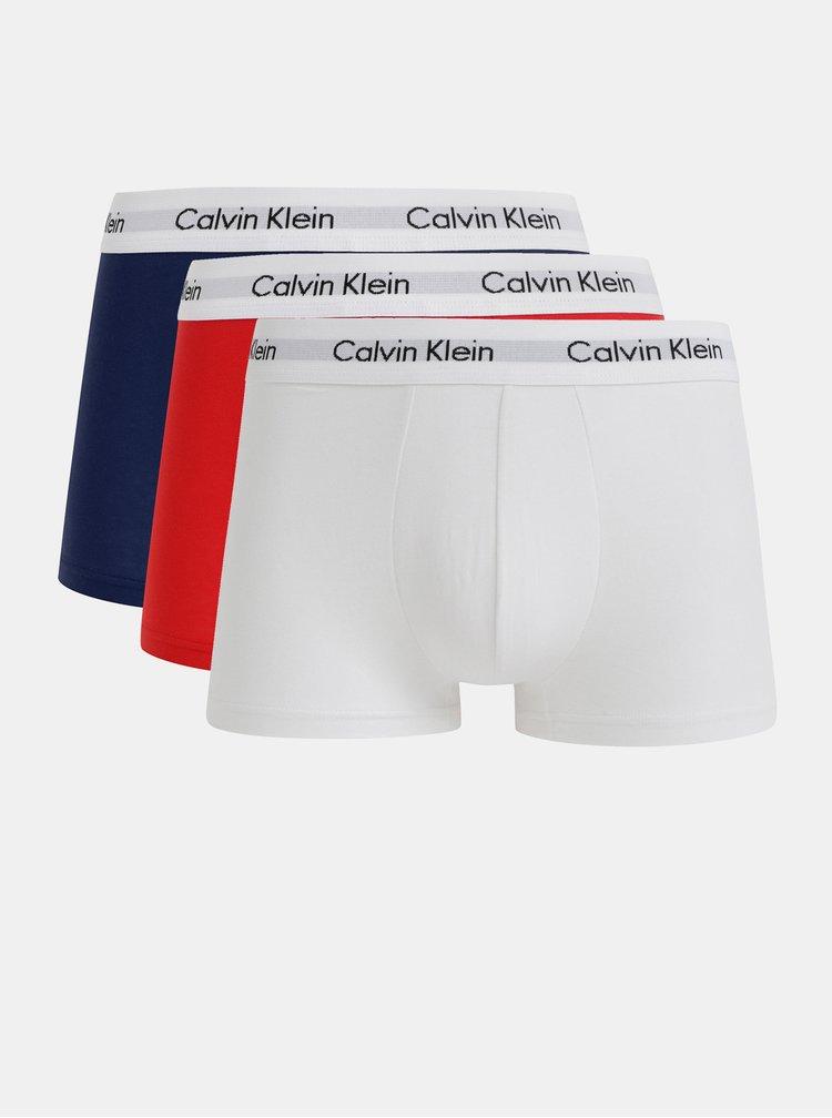 Sada tří boxerek v bílé, červené a modré barvě Calvin Klein Underwear