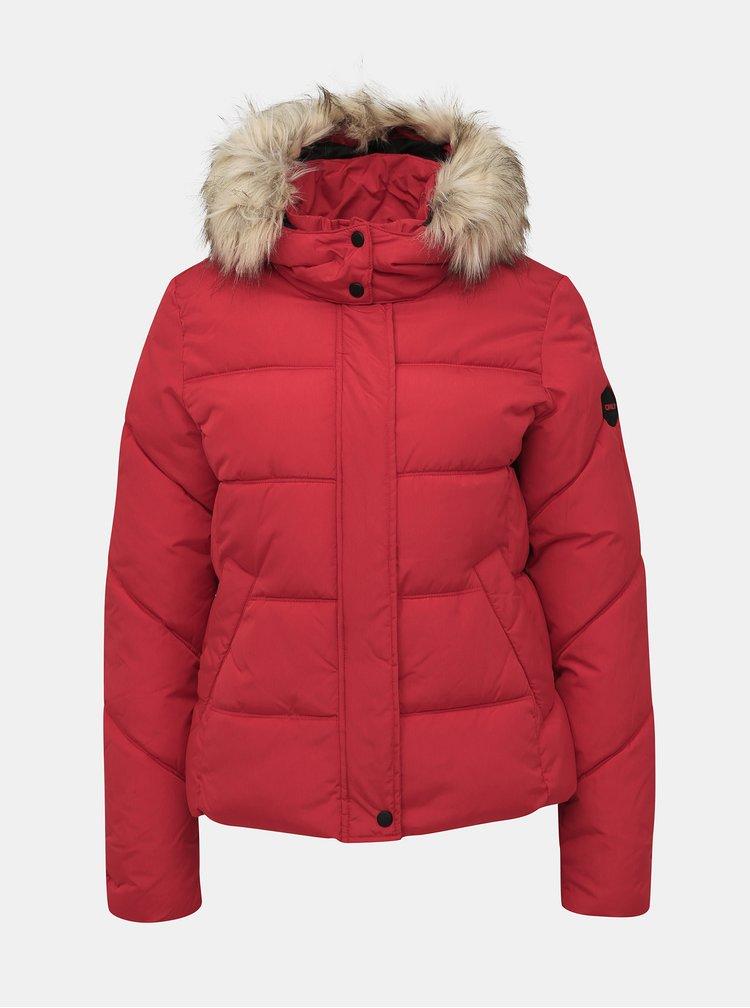 Červená prešívaná zimná bunda ONLY North