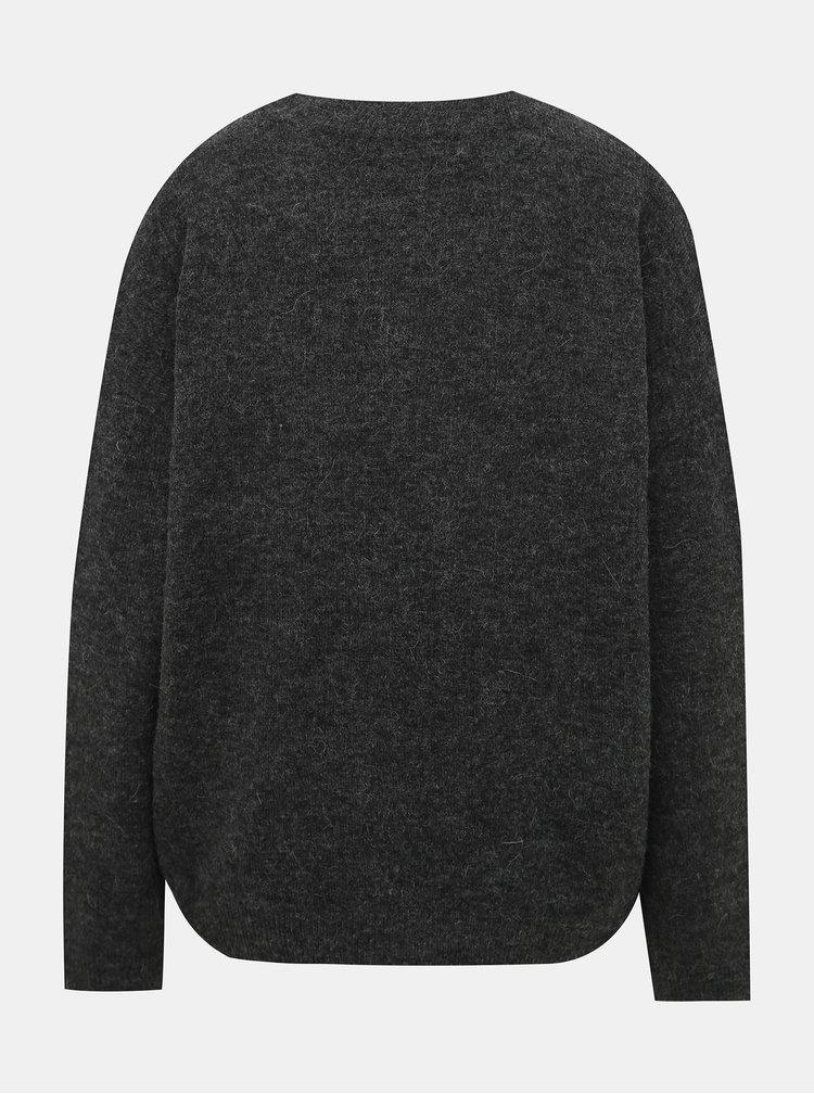 Tmavě šedý basic svetr s příměsí vlny VERO MODA Blakely