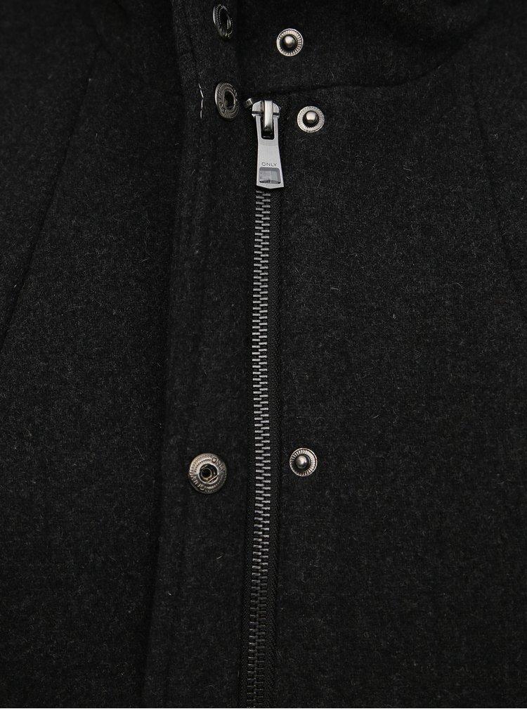 Tmavošedý kabát s prímesou vlny ONLY CARMAKOMA Christie