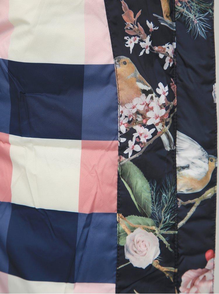 Tmavomodrá kvetovaná prešívaná zimná bunda Femi Stories Franta